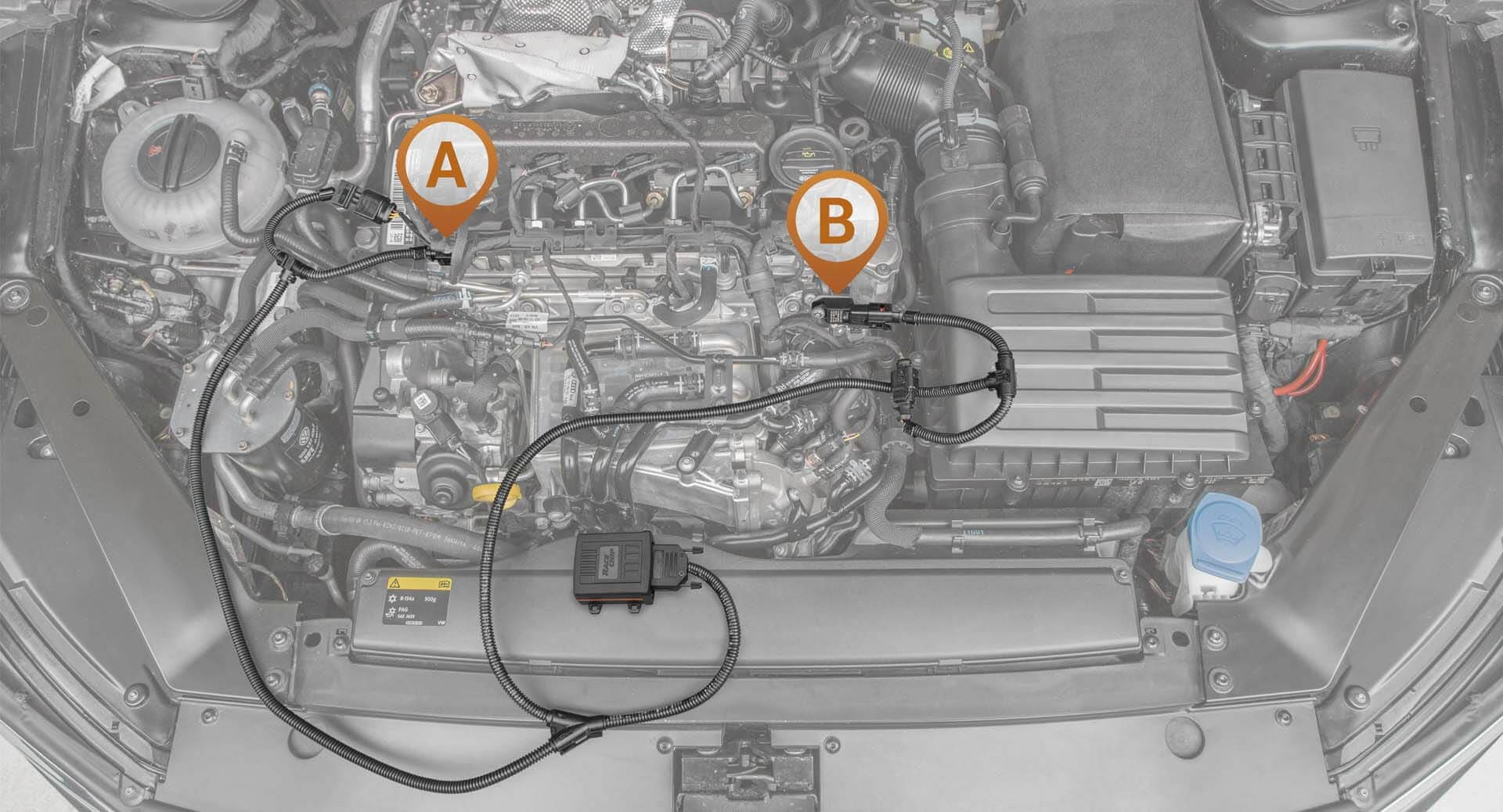 Locating the connection in the engine bay